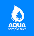 aqua drop sign isolated on blue background vector image vector image