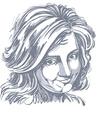 art drawing portrait of naive blameworthy girl vector image vector image