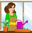 attractive lovely housewife on the balcony vector image vector image