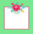 banner with flowers and frame vector image