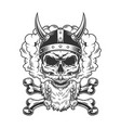 bearded and mustached viking skull vector image vector image