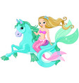 beautiful mermaid riding sea horse vector image vector image