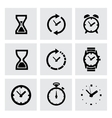 black clocks icons vector image vector image