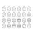 black line easter egg set decorative ornate eggs vector image