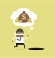 businessman running to find money with pit hole vector image vector image