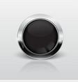 button web glossy black metallic vector image vector image