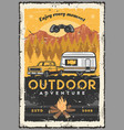 car rv and campfire outdoor adventure travel vector image vector image
