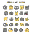Cats cute doodle Funny animals pets isolated vector image vector image