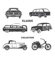 classic cars vintage car icons symbols vintage vector image vector image