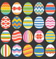 colourful easter eggs flat design set 1 vector image
