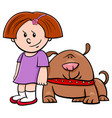 cute girl with funny dog cartoon vector image vector image
