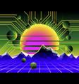 cyber landscape poster vector image