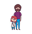 dad and daughter standing characters vector image vector image