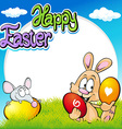 easter frame with bunny mouse and eggs vector image vector image