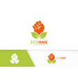 fist and leaf logo combination hand and vector image vector image