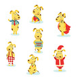 flat cute dog characters set vector image vector image