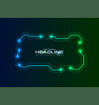 frame from glowing neon circuit board lines vector image vector image