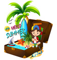Girl on the beach and suitcase vector image
