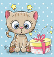 greeting card cute kitten with gift vector image vector image