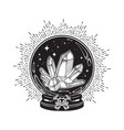 hand drawn magic crystal ball with gems and stars vector image vector image