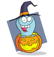 Happy Blue Ghost In A Carved Halloween Pumpkin vector image vector image