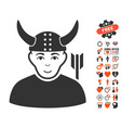horned warrior icon with valentine bonus vector image vector image