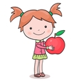 Little girl picking up apples vector image