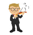 little nerd boy with glasses playing violin vector image vector image