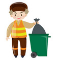 man throwing garbage in trashcan vector image