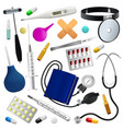 medical instruments and preparations set medicine vector image vector image