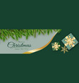 merry christmas green background decorative vector image
