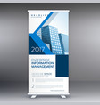 modern blue standee roll up banner design template vector image vector image