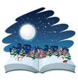 open book winter outdoor theme vector image
