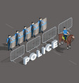 police isometric composition vector image vector image