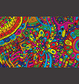 psychedelic cartoon hand drawn background vector image vector image