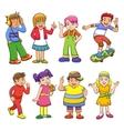 set happy cartoon kids vector image vector image