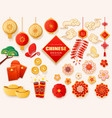 set of isolated asian or chinese design elements vector image