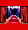 showroom with red carpet leading to a podium and vector image vector image