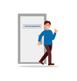 smiling man coming out from office of vector image vector image