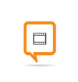square orange speech bubble with film tape one vector image vector image