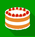 strawberry cake icon in flate style isolated on vector image