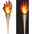 torch with flame isolated in white black vector image vector image