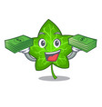 with money fresh green ivy leaf mascot cartoon vector image
