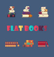 set of stacked books in flat design style vector image