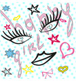 cute fashion pattern with patch badges lips heart vector image