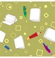 School notes seamless pattern on khaki background vector image