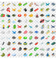 100 military icons set isometric 3d style vector image vector image