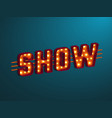 3d retro show sign vector image