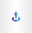 anchor icon blue symbol vector image
