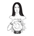 beautiful brunette witch with magic crystal ball vector image vector image